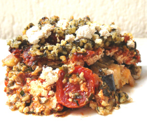 Low Carb Eggplant Lasagne with Basil Pesto