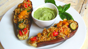 Oven Baked Stuffed Aubergines with Creamy Pesto Mayo