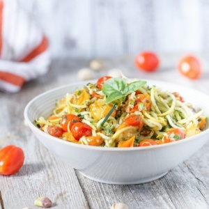 Vegan Zucchini Noodles with Chunky Napoletana and Almond Pesto
