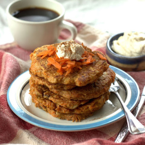 Vegan Carrot Cake Pancakes drizzled with Tahini