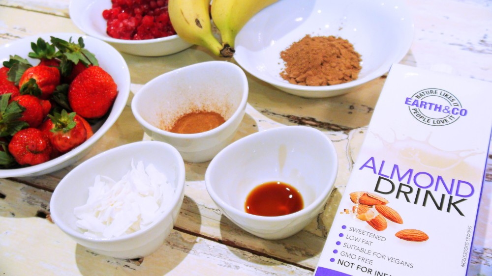 Coco-Berry and Almond Smoothie ingredients