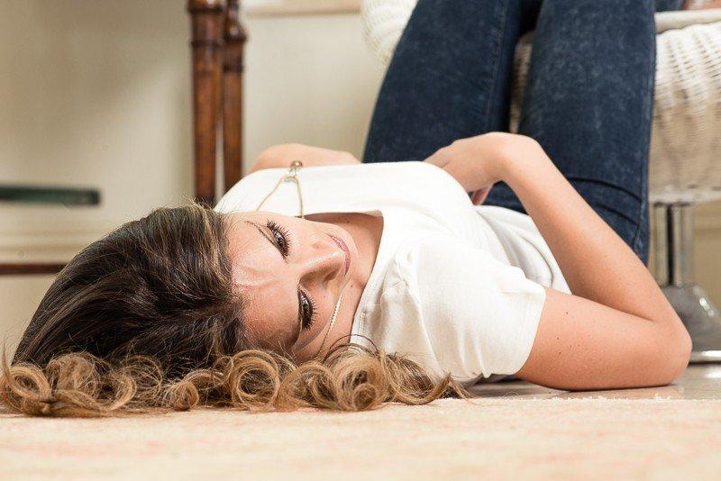Relaxing on floor