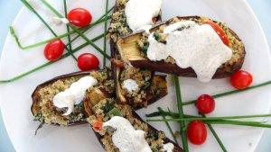 Quinoa Stuffed Eggplant with Tahini Mayo
