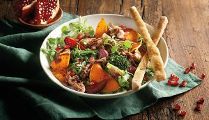 Ruby Salad with Butternut and Caramelized Onions