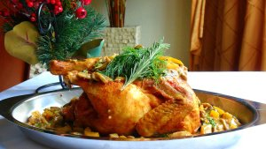 Christmas Roast Chicken with Herbed Mushrooms and Peppers