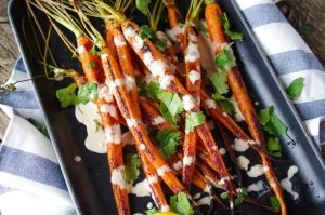 Spicy Tahini Infused Baby Carrots