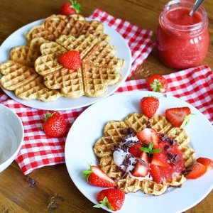 Low Carb Waffles with Caramelized Banana and Fresh Strawberries