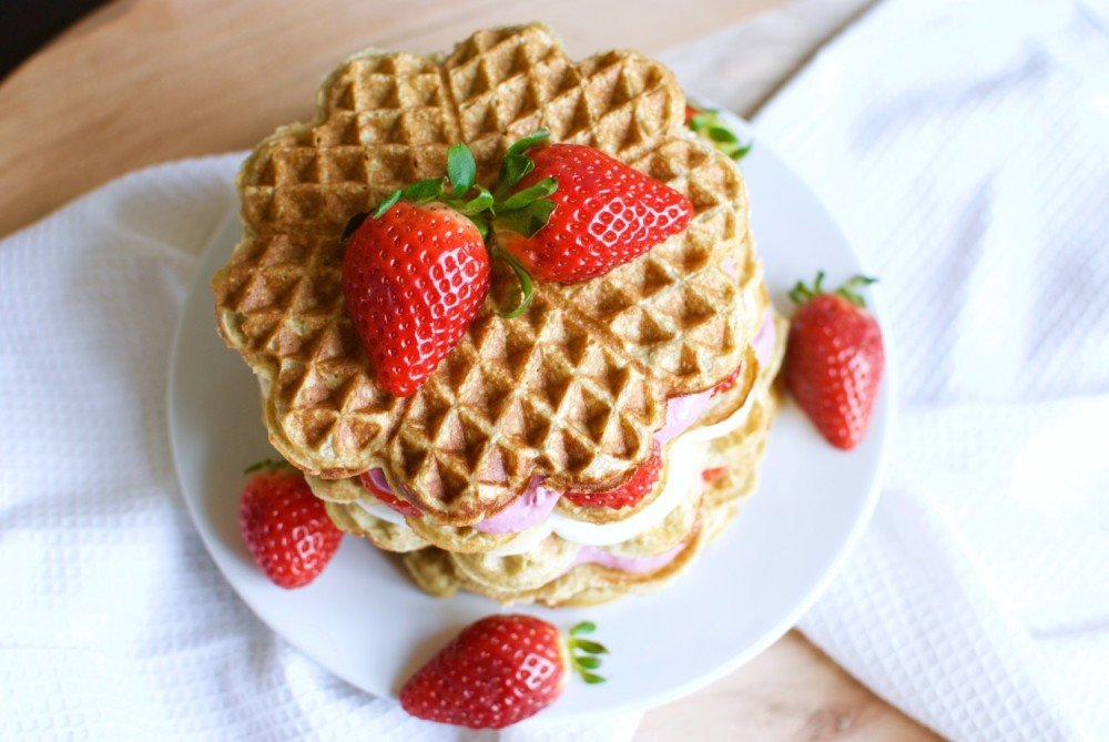 Low Carb Waffles with Caramelized Banana and Fresh Strawberries 2