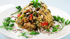 Lemon Quinoa with Lentils and Tahini Basil Cream Recipe