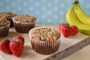 Strawberry, Coconut and Banana Muffins