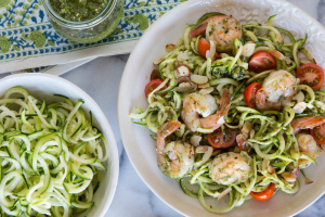 Creamy Low Carb Zucchini Noodles with Spicy Shrimp