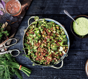 Quinoa pesto artichoke and pinenut salad