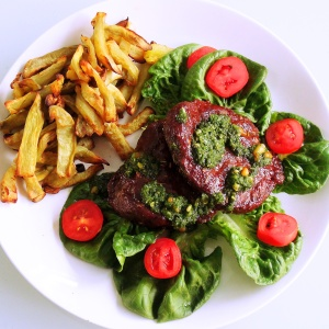 Ostrich Lettuce Burgers with Sweet Potato Fries and Basil Pesto